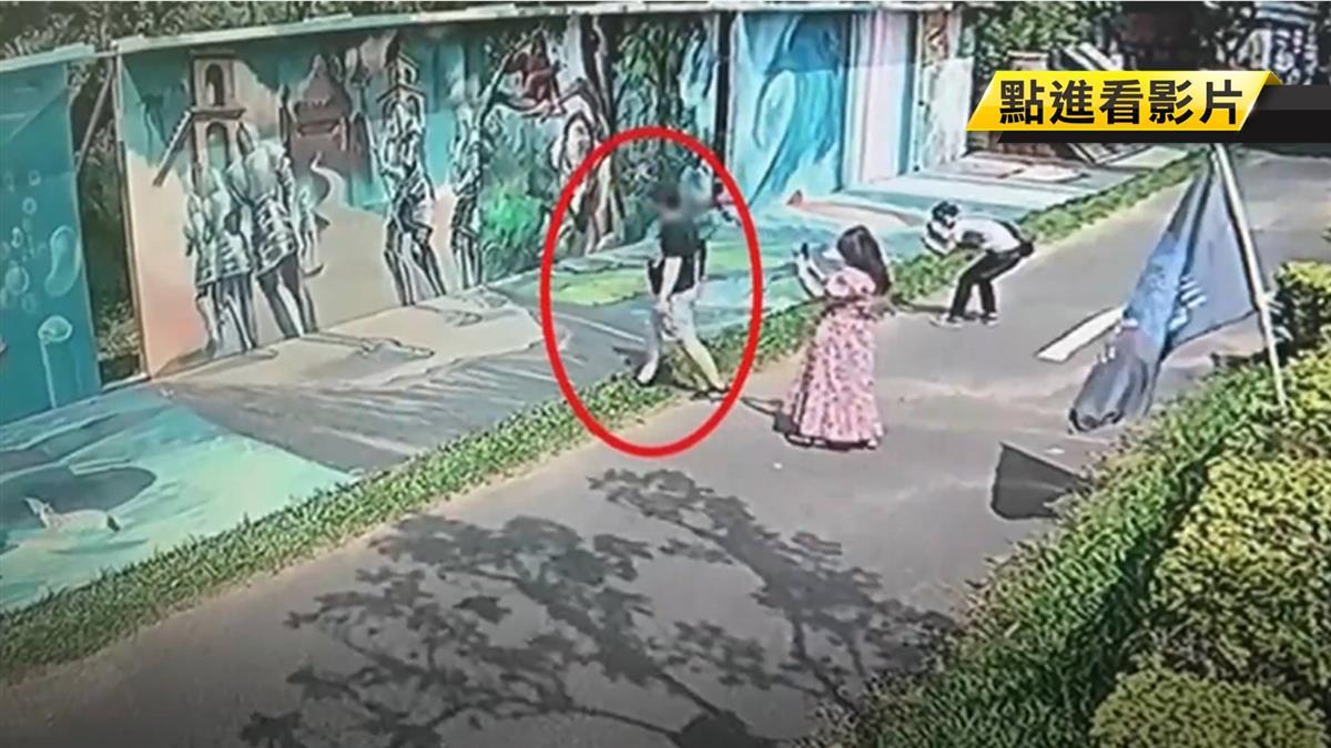 情侶拍美照…一腳踢破4D彩繪牆 下秒尷尬落跑裝沒事