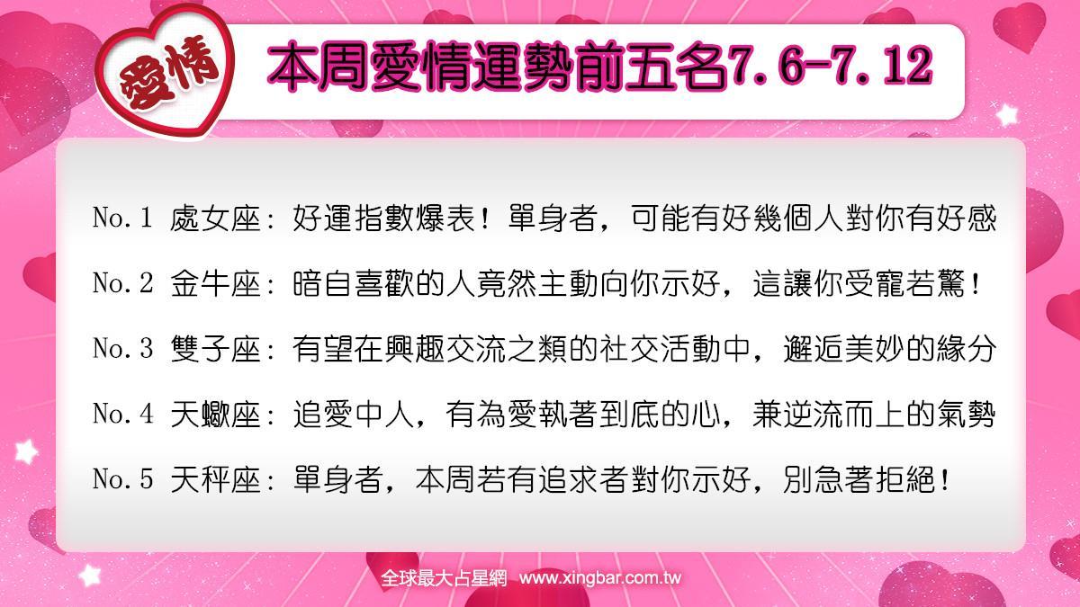 12星座本周愛情吉日吉時(7.6-7.12)