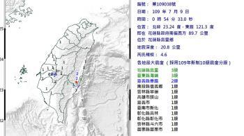 深夜地牛翻身!花蓮規模4.6地震 最大震度3級