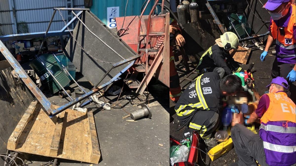 桃園堆高機平台斷裂!2員工重摔5公尺 1人頭遭鐵架重擊慘死