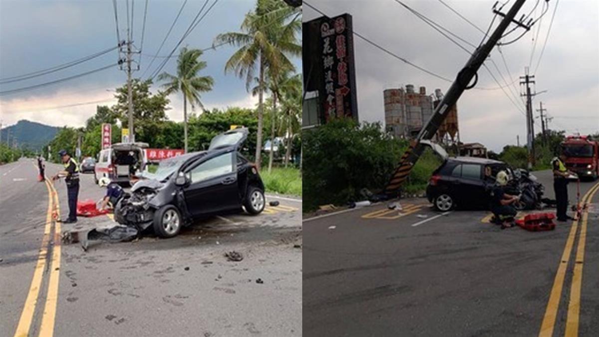 高雄傳嚴重車禍!轎車大轉彎失控撞電桿 釀1死2傷