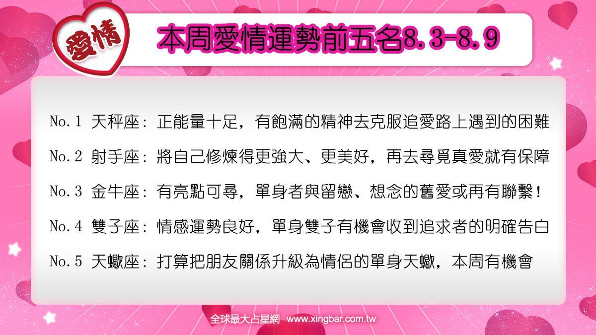 12星座本周愛情吉日吉時(8.3-8.9)
