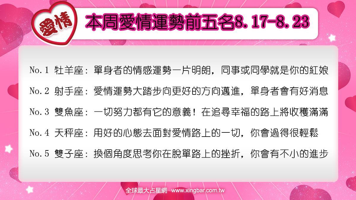 12星座本周愛情吉日吉時(8.17-8.23)