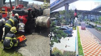 水泥車摔落高架橋!垂直砸向地面 驚悚畫面曝