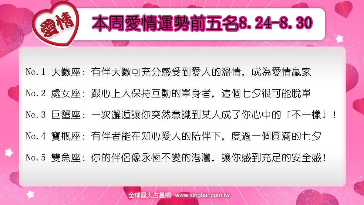 12星座本周愛情吉日吉時(8.24-8.30)
