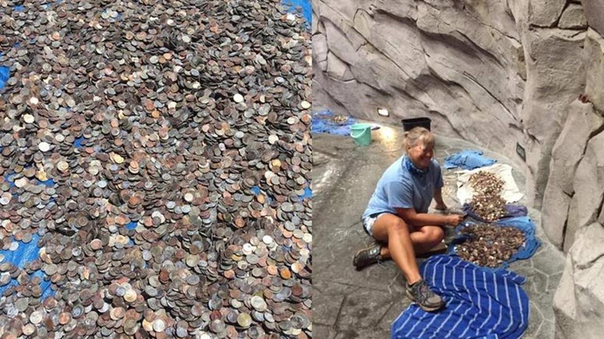 水族館撈出400kg錢幣!花2周才清點完 總額超驚人