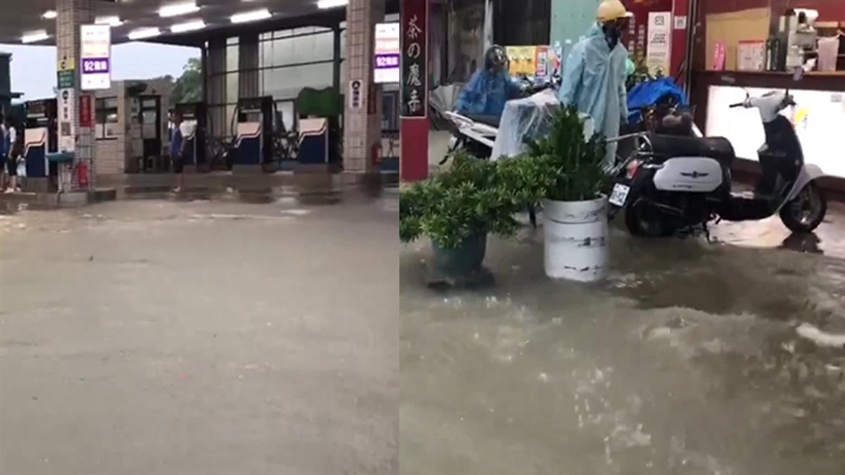 台南大雨狂炸!加油站水淹過小腿肚 曾文水庫卻拉警報