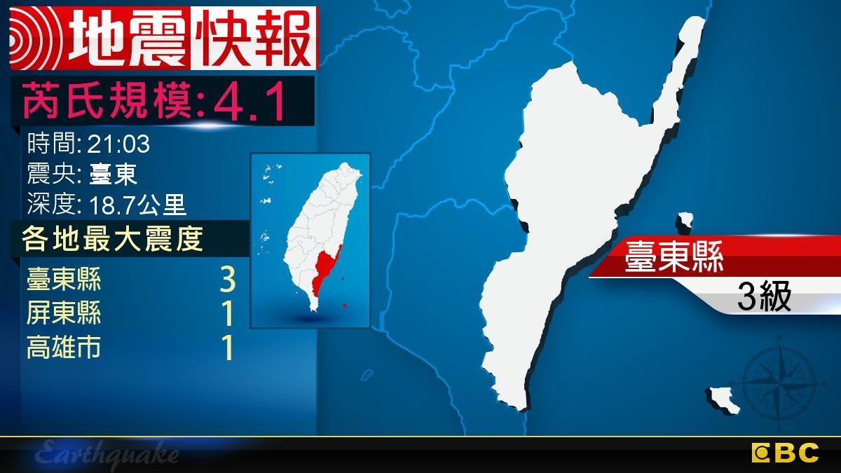 地牛翻身!21:03 臺東發生規模4.1地震