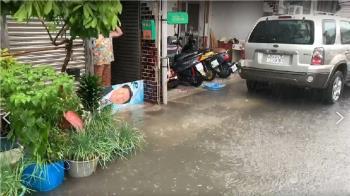 台東卑南豪雨 黃泥水漫過路面影響交通