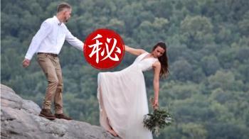 新婚夫妻懸崖邊傾斜45度 差一秒婚照變遺照