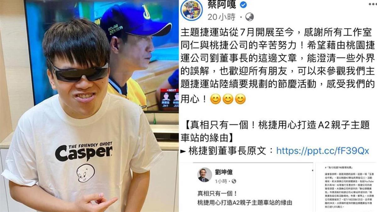 蔡阿嘎爆特權為蔡桃貴慶生 桃捷董事長PO澄清文揭真相