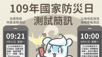 921防災日演練國家級警報 民眾勿驚慌