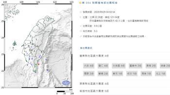 凌晨連2震!台東近海規模5.3地震 最大震度4級