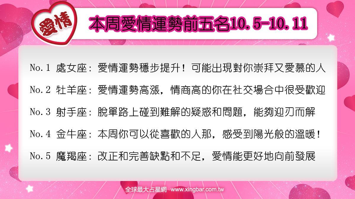 12星座本周愛情吉日吉時(10.5-10.11)