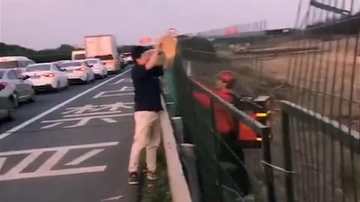 高速公路塞車陸男餓壞 外送員隔鐵網大喊:祝您用餐愉快