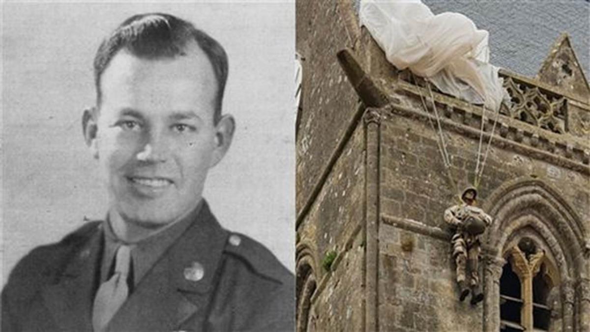 超神演技!二戰傘兵降落卡教堂屋頂  裝死「一掛76年」