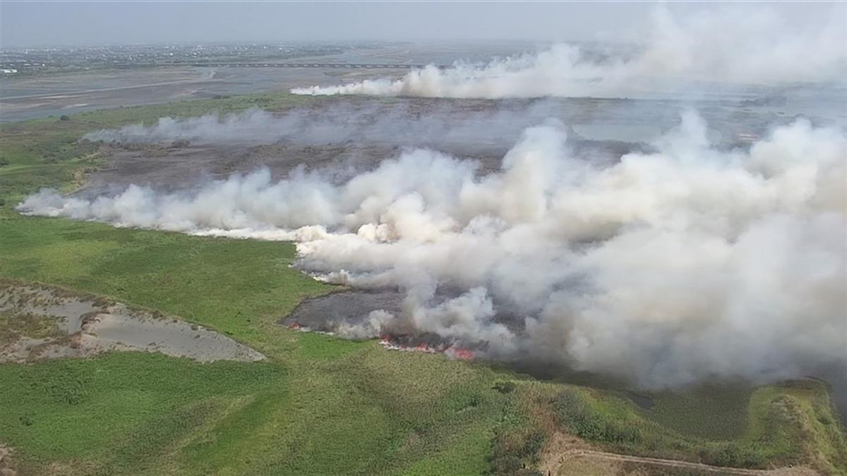 強風助長火勢!濁水溪河床大火延燒逾1公頃