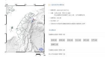快訊/清晨驚醒!宜蘭05:57發生規模3.7地震