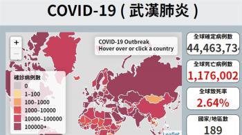 全球逾4456萬人確診 117萬人以上染疫喪生