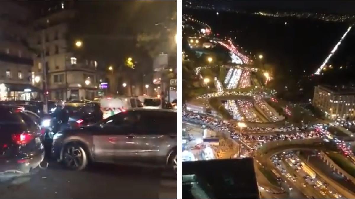 法國封城前夕!民眾瘋搶物資、逃離首都 車潮湧現塞爆巴黎