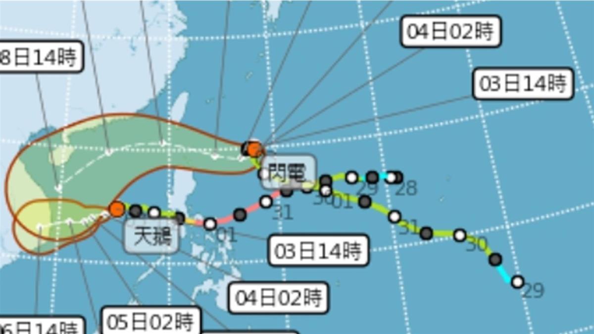 颱風閃電原地打轉  行進方向4日是關鍵
