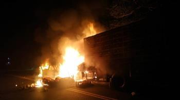 快訊/北宜公路凌晨車禍!轎車貨車對撞燒成火球 2男骨折送醫