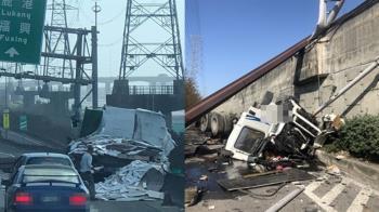 快訊/彰化大車對撞!聯結車慘墜橋下全爛 駕駛找到了