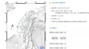 台東近海地震規模5.3 最大震度3級