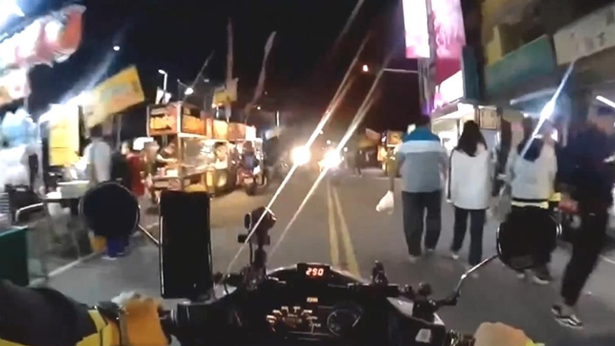 1分鐘遇7機車開遠光燈!南投師騎車進夜市 目睹超扯畫面