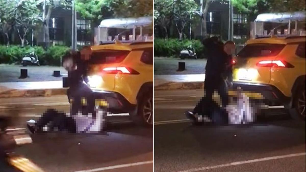 往死裡打!台南恐怖騎士暴打運將 踩死脖子重擊爆頭