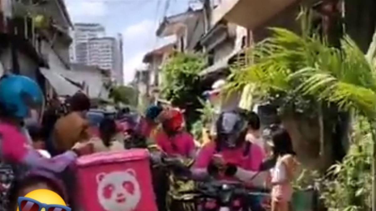 7歲女訂炸雞!開門驚見42位外送員 小巷被粉紅人海塞爆