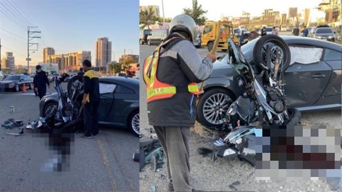 台中傳重大車禍!奧迪跑車迴轉撞重機 騎士爆頭慘死