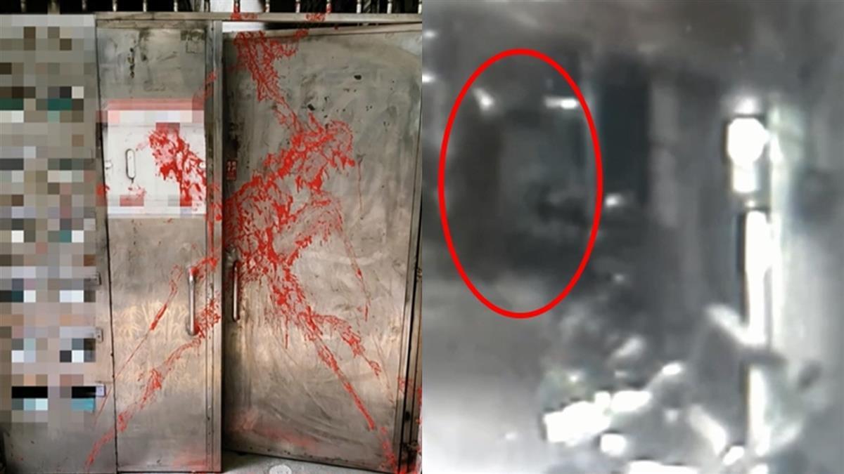 公寓大門遭潑紅漆X 住戶怒:已經不是第一次