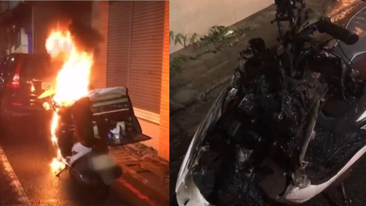 外送途中火燒車!手機直接燒毀 他急哭了