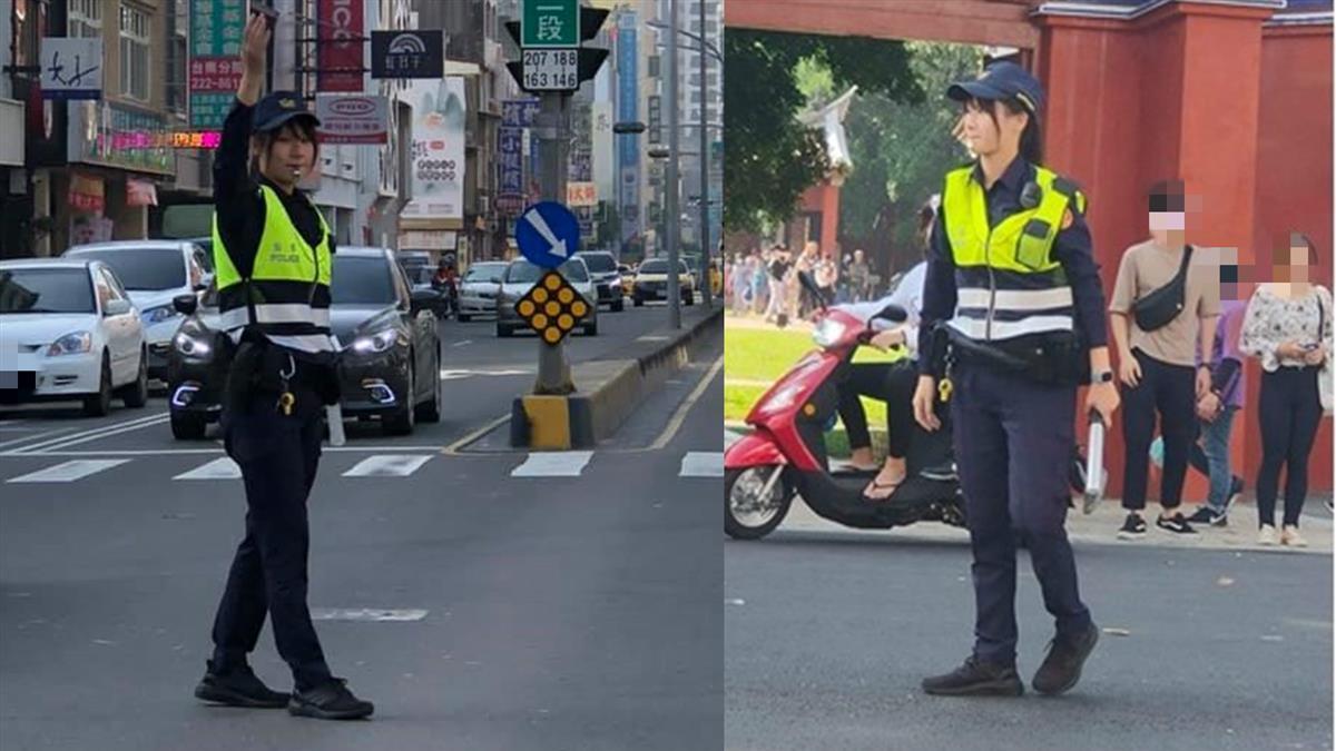 台南正妹女警指揮交通!駕駛綠燈看呆慘被妻巴頭 網笑歪:難怪塞車