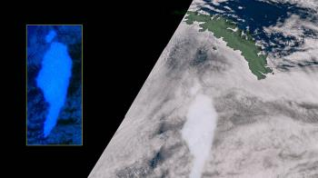 巨型冰山A68a因撞擊海牀而一角崩解