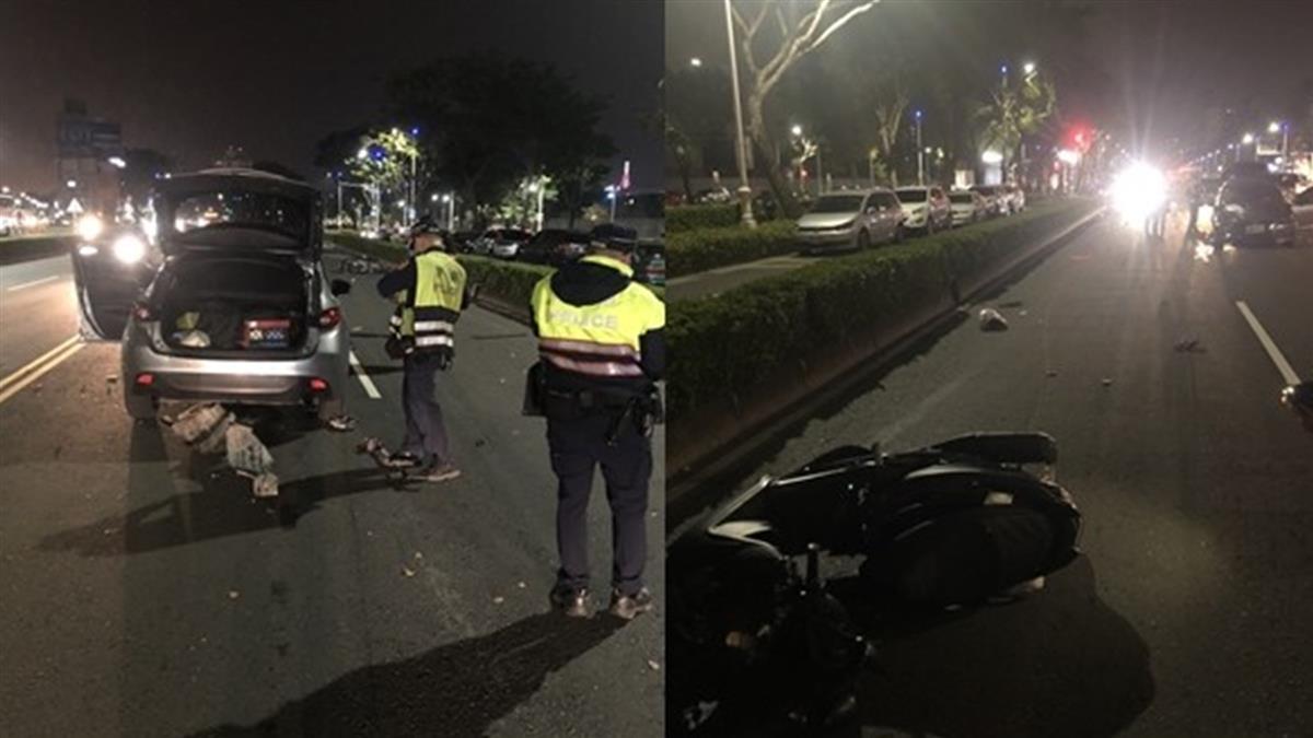疑載女友「沒兩段式左轉」遭轎車撞上 高雄情侶拋飛雙雙慘死