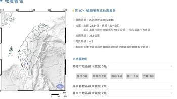 快訊/上午08:28高雄4.2地震 最大震度3級