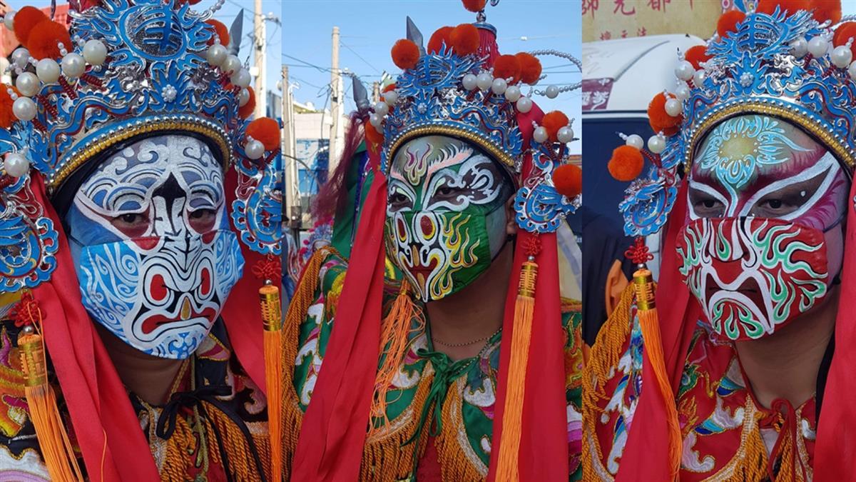 台中宮廟陣頭戴手繪口罩 網狂敲碗出週邊