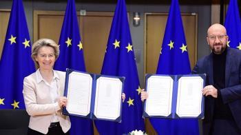 歐盟簽署脫歐貿易協議 元旦起暫時適用