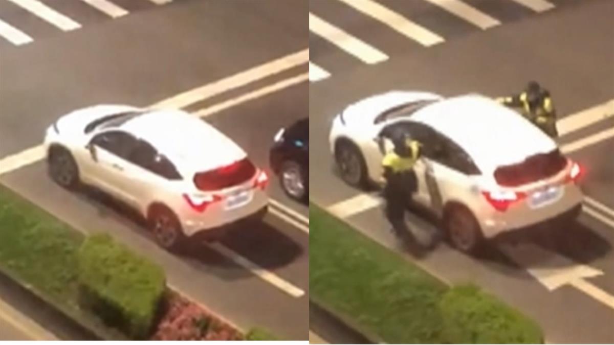 休旅車疑酒駕停路中 2員警呆站看車開走