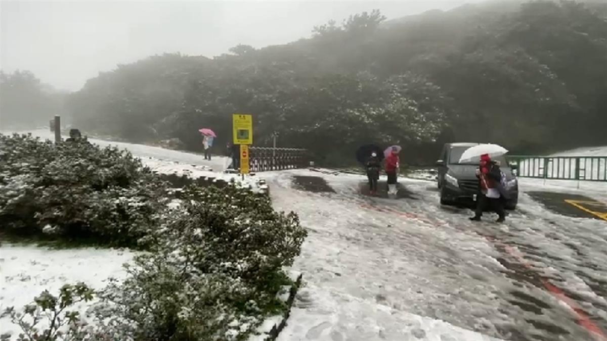 快訊/陽明山降初雪 上百民眾夜衝樂堆雪人