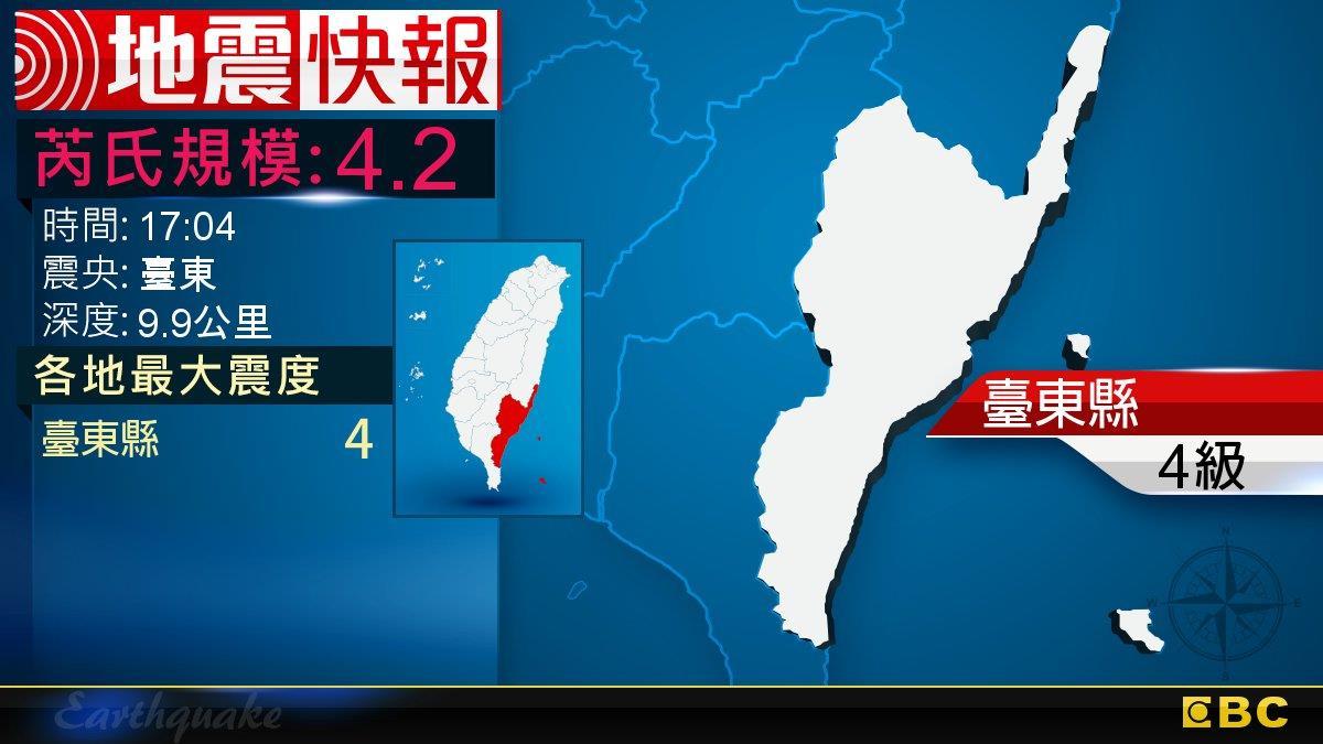 地牛翻身!17:04 臺東發生規模4.2地震