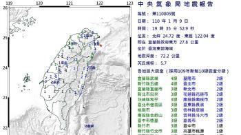 快訊/宜蘭規模5.7有感地震 氣象局:是去年大地震的餘震