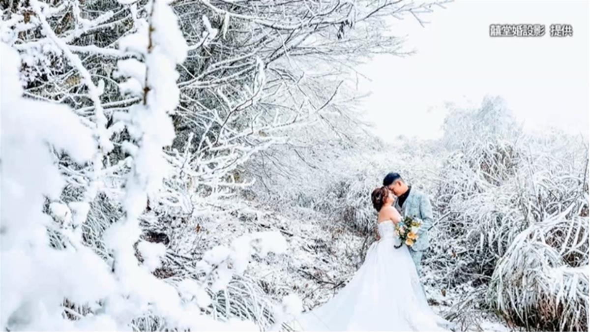 獨/不是P圖!思源埡口降雪 新人拍絕美婚紗照