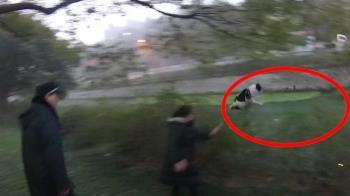 大媽違規遛狗怕被罰 被發現秒丟河中「等下來撿」