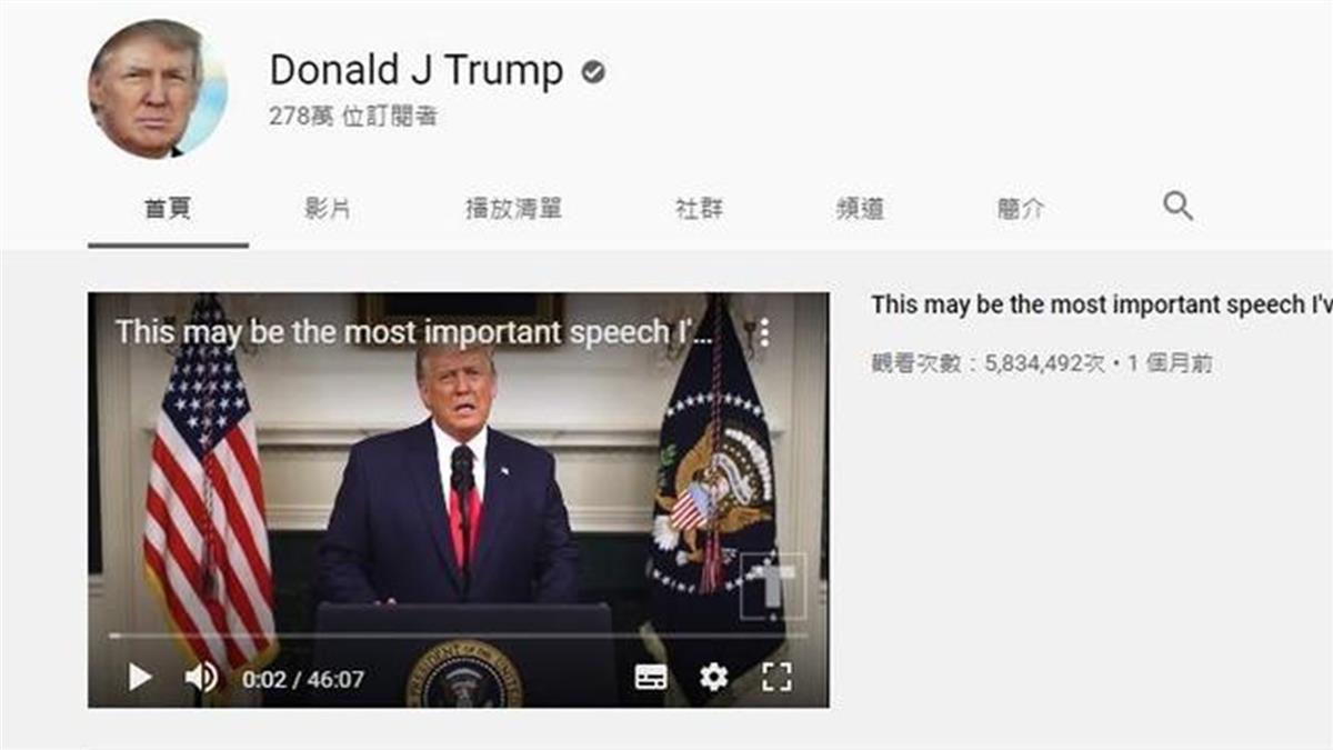 川普再被噤聲 YouTube禁更新7天「有煽動暴力疑慮」