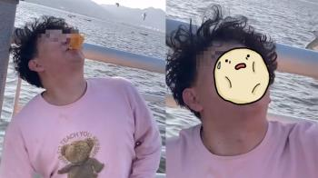 粉衣男叼麵包餵海鷗 下秒遭屎彈襲擊...11秒悲劇片流出