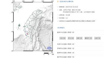 快訊/高雄16:33芮氏規模4.2地震 最大震度3級