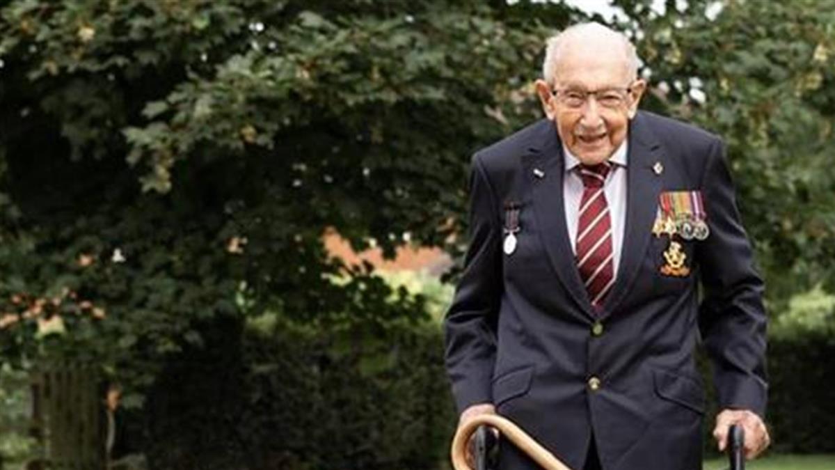 百歲老兵確診住院 曾以助行器繞花園100圈募11億